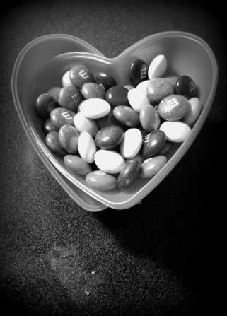 M&M and Hearts.